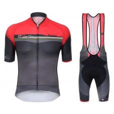 2017 Santini Sleek Plus 1.0 Red-Black Cycling Jersey And Bib Shorts Set