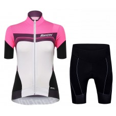 2017 Santini Queen Of The Mountains Women's Fuxia Cycling Jersey And Shorts Set