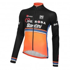 2016 Team DE-ROSA Black-Orange Cycling Long Sleeve Jersey