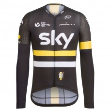 2016 Team Sky IV Black-Yellow Cycling Long Sleeve Jersey