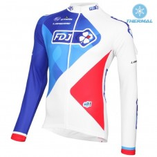 2016 Team FDJ White Thermal Long Sleeve Cycling Jersey