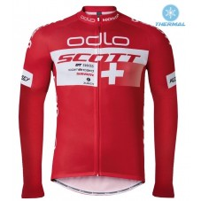 2016 Scott ODLO Team Red Thermal Long Sleeve Cycling Jersey