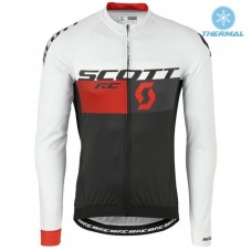 2016 Scott RC White-Black-Red Thermal Long Sleeve Cycling Jersey