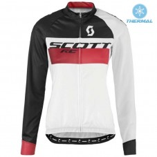 2016 Scott RC White-Black-Red Women Thermal Long Sleeve Cycling Jersey