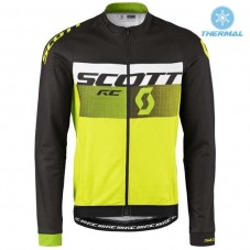 2016 Scott RC Black-White-Green Fluo Thermal Long Sleeve Cycling Jersey