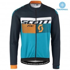 2016 Scott RC Black-Yellow-Blue Thermal Long Sleeve Cycling Jersey