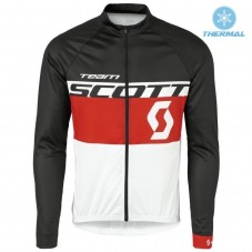 2016 Scott Team Black-Red-White Thermal Long Sleeve Cycling Jersey