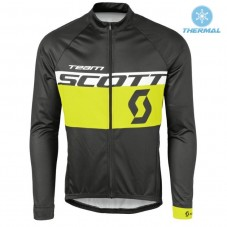 2016 Scott Team Black-Yellow Thermal Long Sleeve Cycling Jersey
