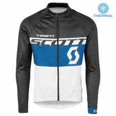 2016 Scott Team Black-Blue-White Thermal Long Sleeve Cycling Jersey