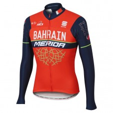 2017 Bahrain-Merida Red-Black Long Sleeve Cycling Jersey