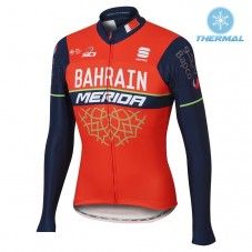 2017 Bahrain-Merida Red-Black Thermal Long Sleeve Cycling Jersey