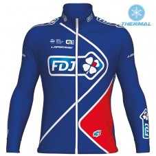 2017 Team FDJ Blue Thermal Long Sleeve Cycling Jersey