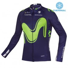 2017 Team Movistar Thermal Long Sleeve Cycling Jersey