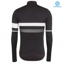 2017 Rapha Brevet Black-White Thermal Long Sleeve Cycling Jersey