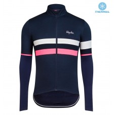 2017 Rapha Brevet Blue-Pink Thermal Long Sleeve Cycling Jersey