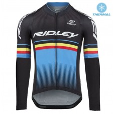 2017 Ridley Rincon Black-Blue Thermal Long Sleeve Cycling Jersey