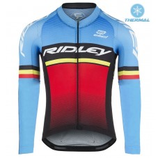 2017 Ridley Rincon Blue-Red Thermal Long Sleeve Cycling Jersey