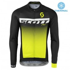 2017 Scott RC Black-Yellow Thermal Long Sleeve Cycling Jersey