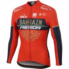 2018 Team Merida Bahrain Red Long Sleeve Cycling Jersey