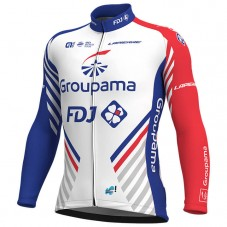 2018 Team FDJ White Long Sleeve Cycling Jersey
