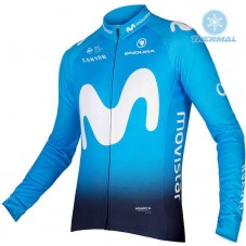 2018 Movistar Team Blue Thermal Long Sleeve Cycling Jersey