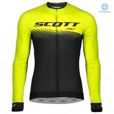2019 Scott-RC PRO Black-Yellow Thermal Long Sleeve Cycling Jersey