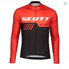 2019 Scott-RC-Team Black-Red Thermal Long Sleeve Cycling Jersey