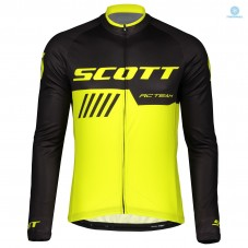 2019 Scott-RC-Team Black-Yellow Thermal Long Sleeve Cycling Jersey