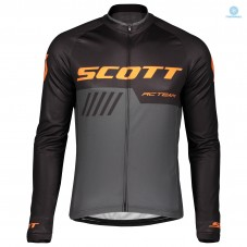 2019 Scott-RC-Team Black-Grey-Orange Thermal Long Sleeve Cycling Jersey