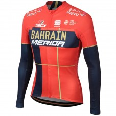2019 Merida Bahrain Red Long Sleeve Cycling Jersey