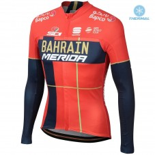 2019 Merida Bahrain Red Thermal Long Sleeve Cycling Jersey