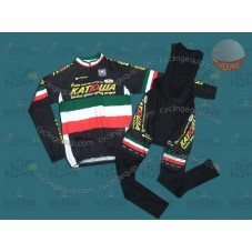 Katusha Green Thermal Cycling Long Sleeve Jersey And Bib Pants Set