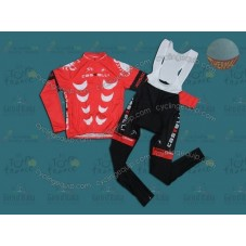 Castelli Red Thermal Cycling Long Sleeve Jersey And Bib Pants Set