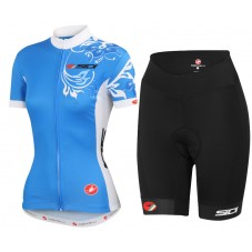 2015 Castelli Sidi Flower Blue Women Cycling Jersey And Regular Shorts Set