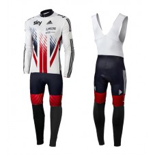 2015 Team Sky British UK Flag Cycling Long Sleeve Jersey And Bib Pants Set