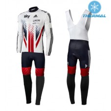 2015 Team Sky British UK Flag Thermal Long Cycling Long Sleeve Jersey And Bib Pants Set