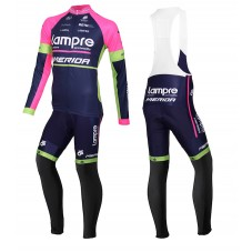 2015 Lampre Merida Cycling Long Sleeve Jersey And Bib Pants Set