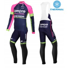 2015 Lampre Merida Thermal Long Cycling Long Sleeve Jersey And Bib Pants Set