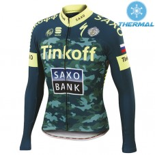 2015 Tinkoff Saxo Bank Camouflage Thermal Cycling Long Sleeve Jersey