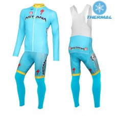 2015 Team Astana Thermal Long Cycling Long Sleeve Jersey And Bib Pants Set