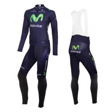 2015 Team Movistar Cycling Long Sleeve Jersey And Bib Pants Set