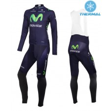 2015 Team Movistar Thermal Long Cycling Long Sleeve Jersey And Bib Pants Set