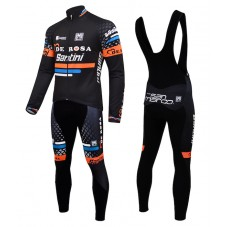 2015 De-Rosa Santini Black Cycling Long Sleeve Jersey And Bib Pants Set