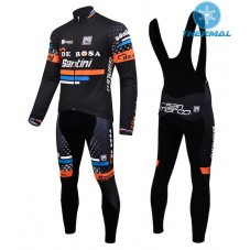 2015 De-Rosa Santini Black Thermal Long Cycling Long Sleeve Jersey And Bib Pants Set