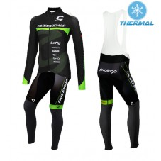 2015 Cannondale Factory Team Black-Green Thermal Long Cycling Long Sleeve Jersey And Bib Pants Set
