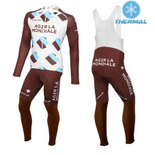 2015 Team Ag2r Thermal Long Cycling Long Sleeve Jersey And Bib Pants Set