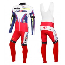 2015 Team Katusha Cycling Long Sleeve Jersey And Bib Pants Set