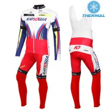 2015 Team Katusha Thermal Long Cycling Long Sleeve Jersey And Bib Pants Set
