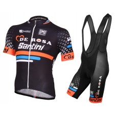 2015 De-Rosa Santini Black Cycling Jersey And Bib Shorts Set