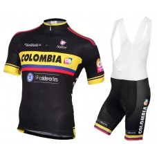 2015 Team Colombia Black Cycling Jersey And Bib Shorts Set